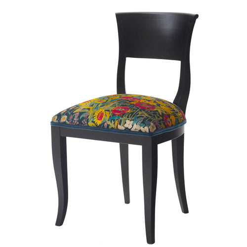 Black Mid-Century Modern chair Upholster in velvet Faria Flowers from Liberty London