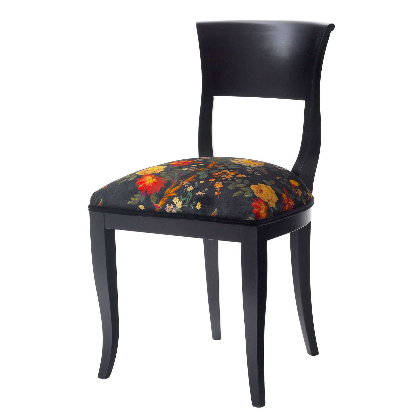 Black Dining Chair upholstered in Liberty London Lady Kristina in velvet