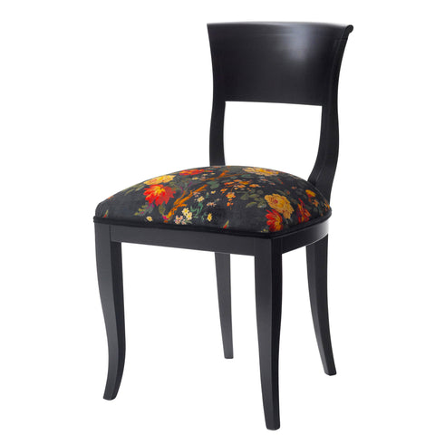 The Marco Chair Upholstered in Faria Flowers Vintage Velvet from Liberty London