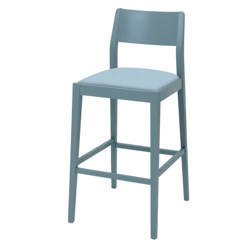 James Luxury Bar Stool Upholstered in Oval Blue NeoGeo By Jon Burgerman