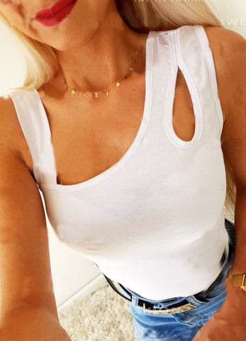 Sexy White Cut Out Tank Top
