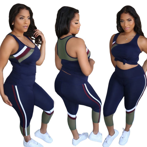 Summer Sporty Sexy Two Piece Pants Set