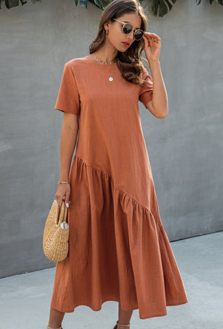 Summer Solid Color Long Boho Dress