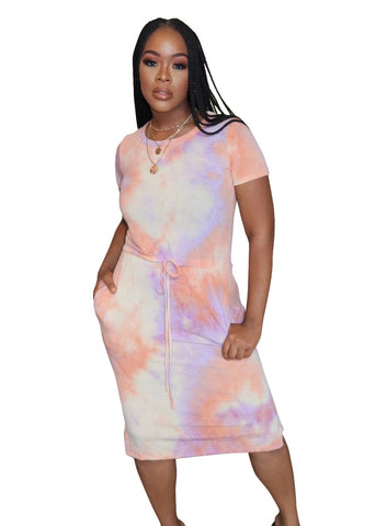 Summer Tie Dye Drawstring Long Shirt Dress