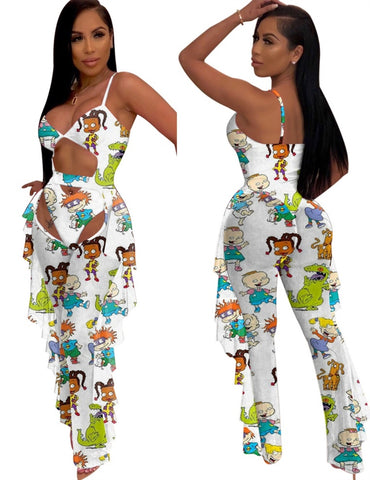 Sexy Cute Print Two Piece Jumpsuit