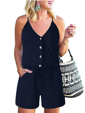 Summer Sheer Drawstring Halter Rompers
