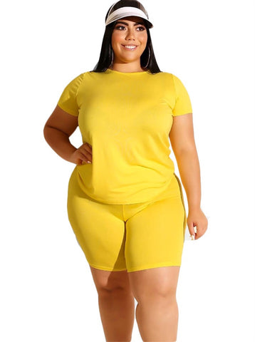 Plus Size Casual Sheer Two Piece Shorts Set