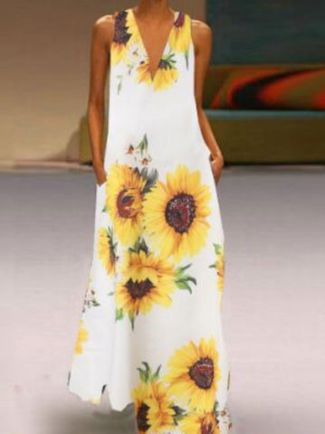 Summer V-Neck Sleeveless Floral Long Maxi Dress