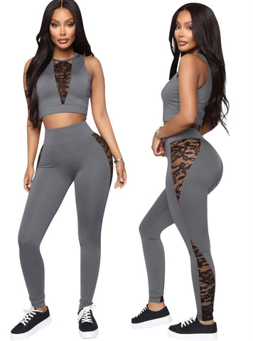 Summer Lace Accent Sexy Two Piece Tight Pants Set