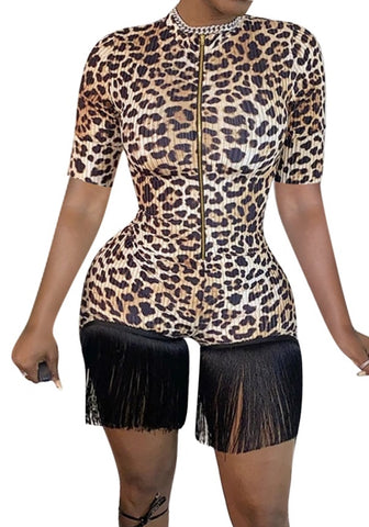 Summer Sexy Leopard Fringe Rompers