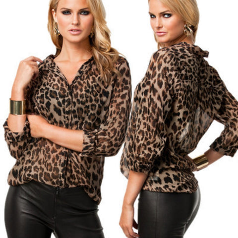 Elegant Leopard Print Long Sleeve Blouse