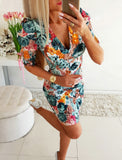 Summer V-Neck Floral Mini Dress
