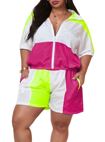 Plus Size Sporty Contrast Two Piece Shorts Set