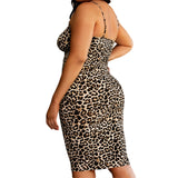 Plus Size Straps Leopard Party Dress