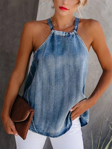 Summer Sexy Halter Denim Vest