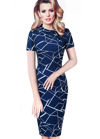 Print Office Pencil Dress with Short Sleeves
