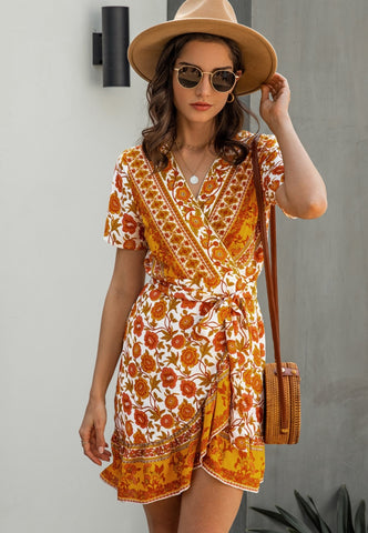 Summer Romantic Floral Wrapped Dress