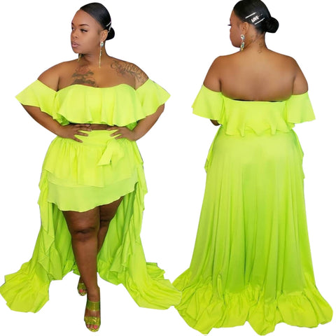 Plus Size Sexy Neon Two Piece Long Skirt Set