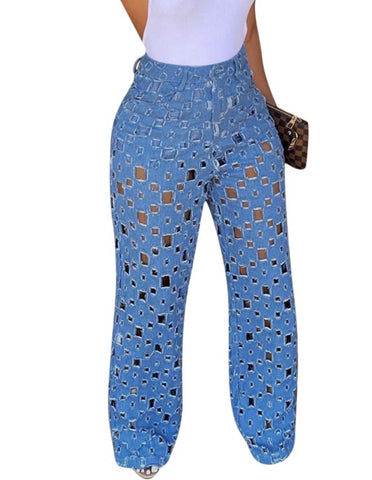 Summer Hollow Out High Waist Blue Jeans