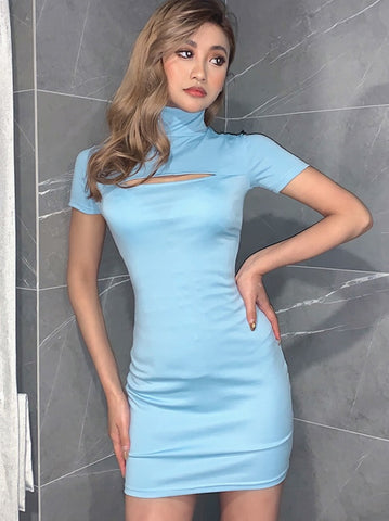 Summer Blue Ripped Sexy Mini Party Dress