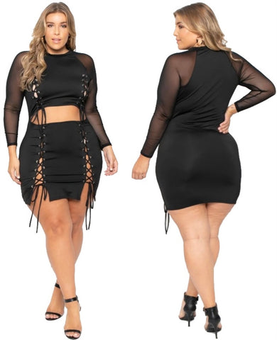 Plus Size Sexy Lace Up Black Club Dress