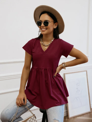 Summer Sheer V-Neck Peplum Shirt