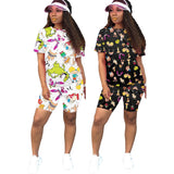 Summer Print Two Piece Shorts Set