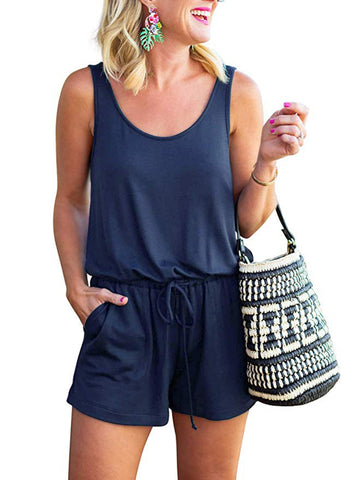 Summer Sheer Sleeveless Drawstring Rompers Pajama