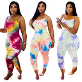Summer Sexy Tie Dye Straps Bodycon Jumpsuit