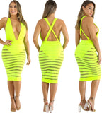 Sexy Neon Deep-V Stripes Party Dress