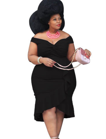 Plus Size Summer Wrapped Ruffle Party Dress