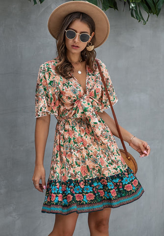 Summer Floral V-Neck Knot Skater Dress