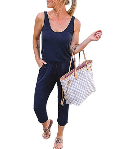 Summer Sheer Sleeveless Drawstring Casual Jumpsuit