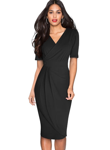 Sheer Office Wrapped Pencil Dress with Short Sleeves