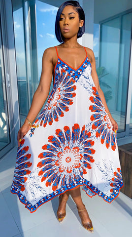Summer African Fit and Flare Print Straps Long Dress