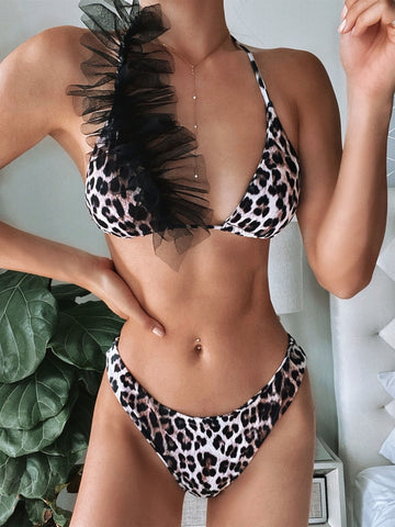 Sexy Two Piece Leopard Halter Swimwear