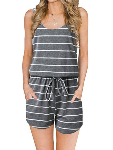 Summer Stripes Sleeveless Rompers