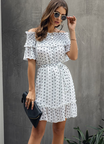 Summer Off the Shoulder Polka Skater Dress