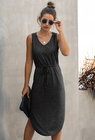 Summer Sheer Drawstring Long Vest Dress