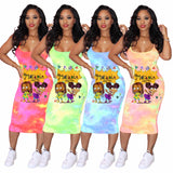 Summer Tie Dye African Straps Bodycon Dress