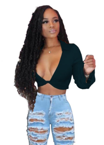 Sexy Sheer African Long Sleeve Crop Top