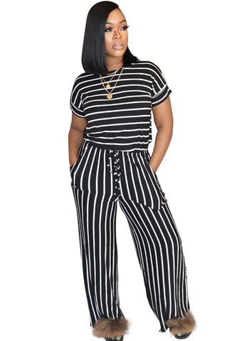 Summer Casual Striped Loose Jumpsuit