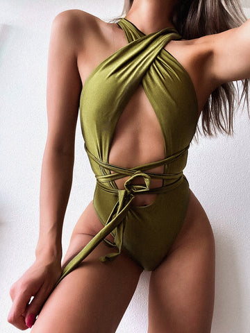Sexy Green One Piece Halter Swimwear