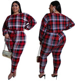 Plus Size Plaid Print Two Piece Pants Set