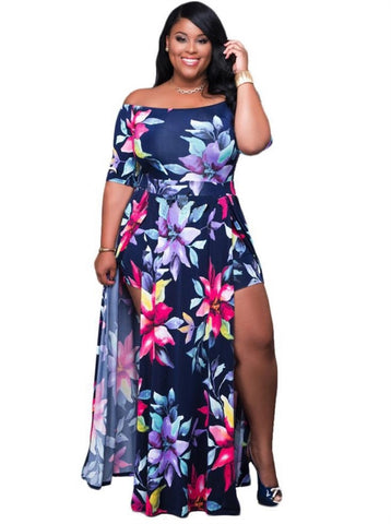 Plus Size Off the Shoulder Slit Floral Dress
