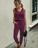 Summer Stripes Sleeveless Jumpsuit