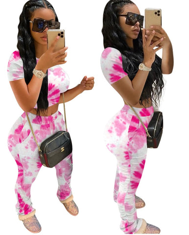 Summer Tie Dye Two Piece Pants Set