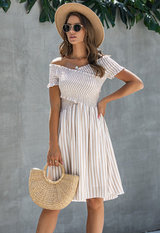 Summer Striped Wrapped A-Line Short Dress