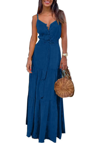Summer Sheer Straps Long Dress with Belt