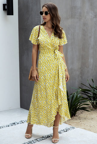 Summer Polka Dot Wrapped Long Dress